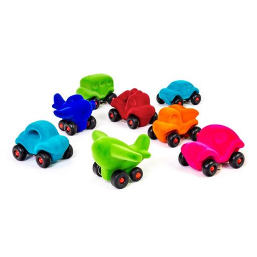 Rubbabu - bársonyos tapintású gumi járművek - többféle