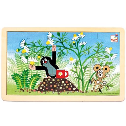 Kisvakond és virágok keretes fa puzzle 15 db-os