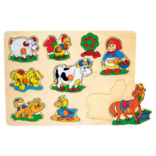 Fajáték - Fogantyús puzzle - bárányos