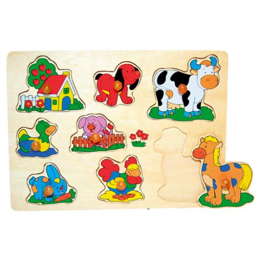 Fajáték - Fogantyús puzzle - házikós