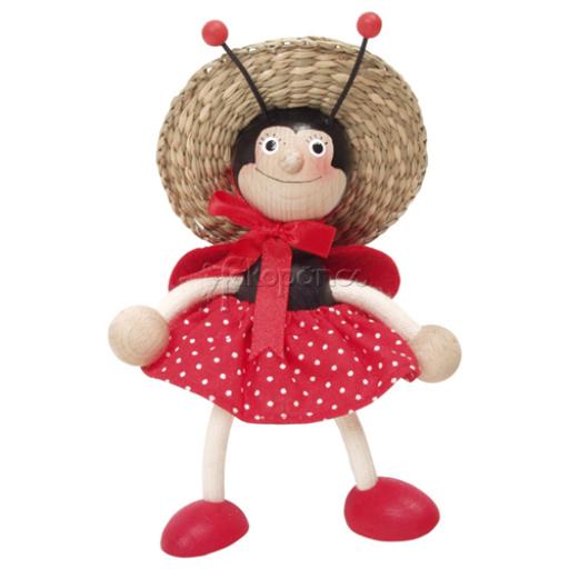 Fajáték - Rugós figura - kalapos katicalány