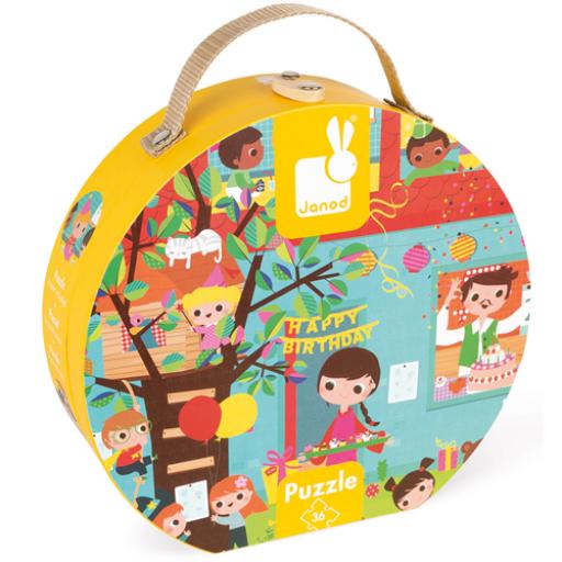 Janod - Szülinapi party puzzle bőröndben - 36 db