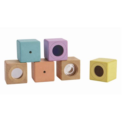 Plan Toys - Fejlesztő kocka készlet – pasztell
