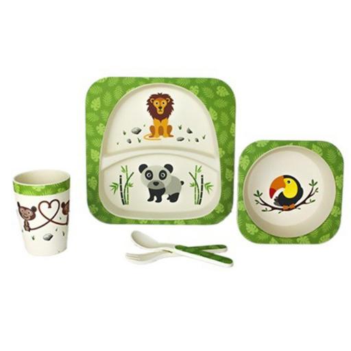 Woodway - Bambusz gyermek étkészlet - Vadállatok