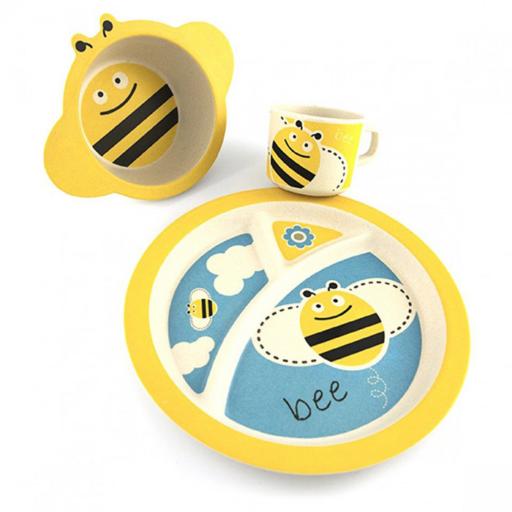 Pure Kids bambusz gyerek étkészlet – méhecske