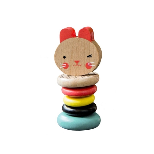 Petit Collage 100% organikus fejlesztő fa játék, csörgő, kisegér