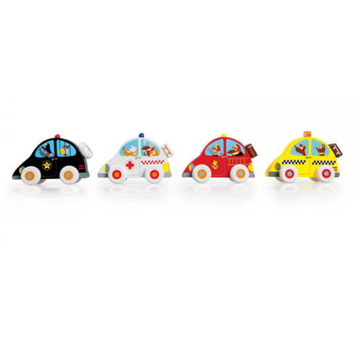 Fa autó - 4 féle - rendőrség, tűzoltó, taxi