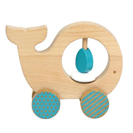Petit Collage - 100% organikus fejlesztő fa gurulós játék - bálna