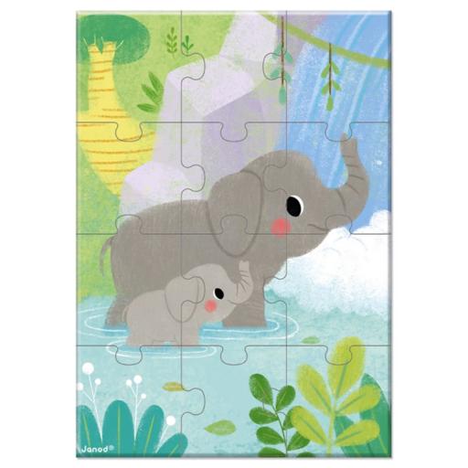 Janod - Zsebpuzzle - Elefánt - 12 db-os