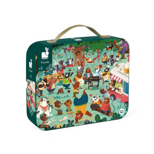 Janod - Mackó család puzzle bőröndben - 54 db