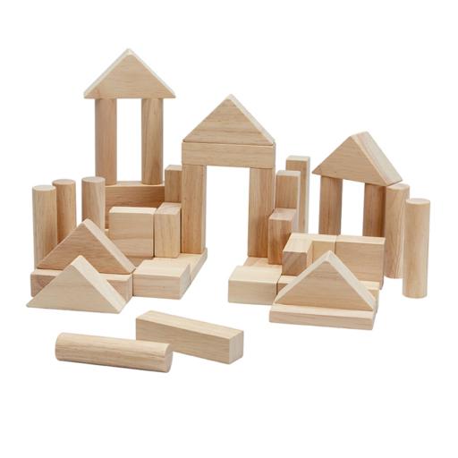Plan Toys - Építőkocka szett - natúr - 40 db-os