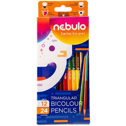 Színes ceruza készlet - háromszüg alakú, kétvégű - 12 db-os 24 színnel