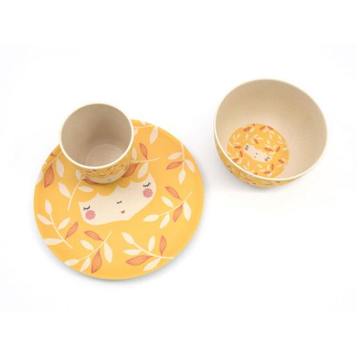 Yuunaa-Marinski design bambusz gyerek étkészlet – sárga