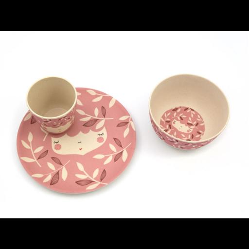 Yuunaa-Marinski design bambusz gyerek étkészlet – rózsaszín