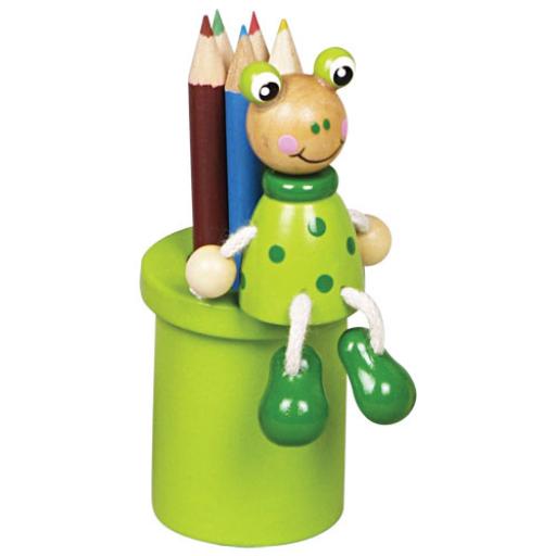 Fajáték - Ceruzatartó ceruzával - békás