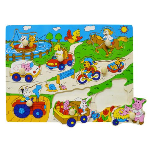 Fajáték - Fogantyús puzzle - farmos