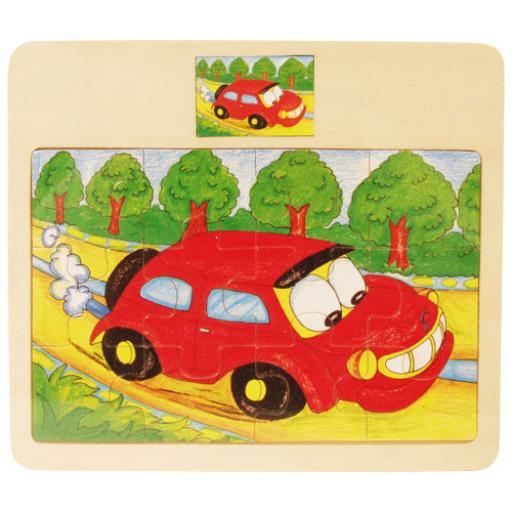 Fajáték - Puzzle - 12 darabos - autós