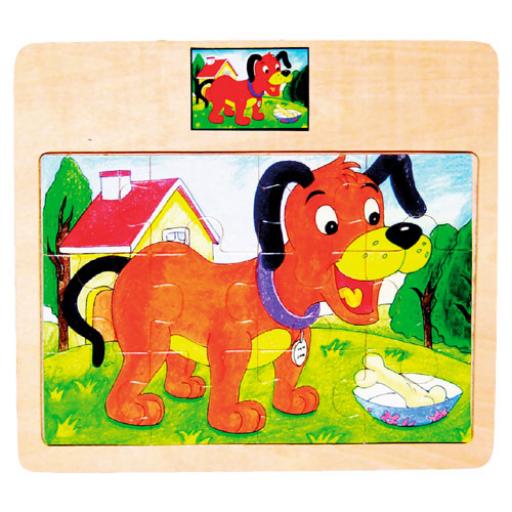 Fajáték - Puzzle - 12 db-os - kutyás