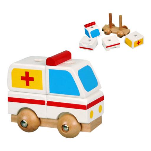 Fajáték - Szétszedhető mentőautó, kicsi