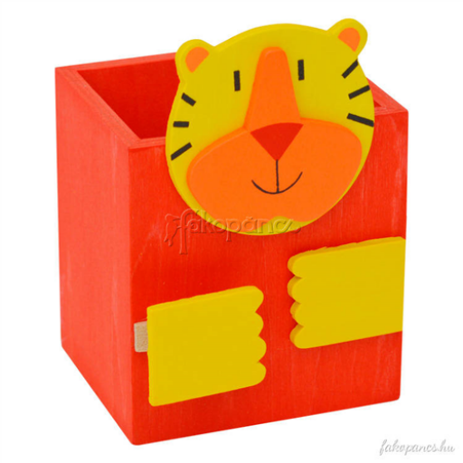 Fajáték - Csipeszes ceruzatartó - tigrises