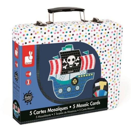 Janod - Kalózhajó mozaik készlet bőröndben