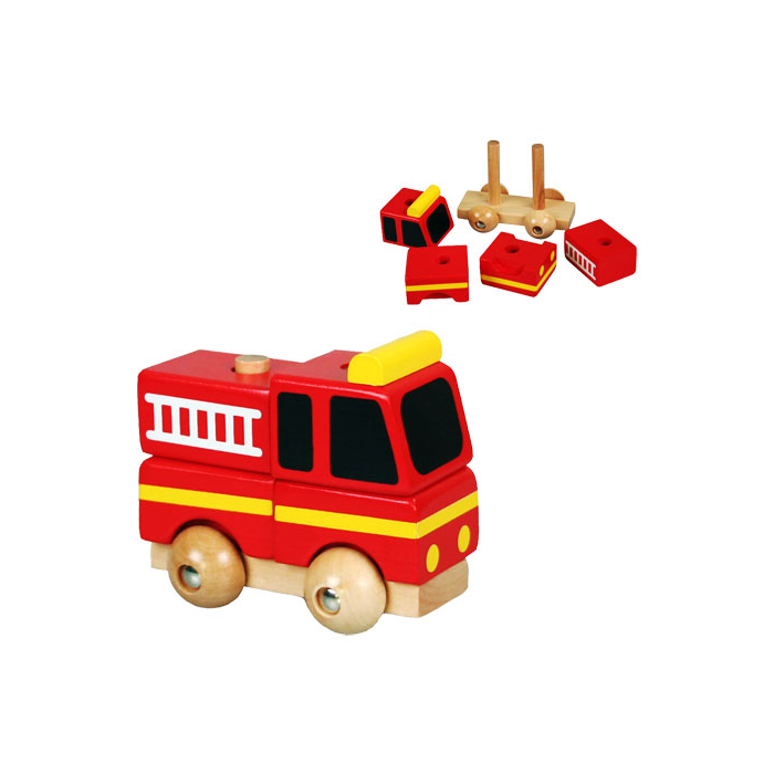 Fajáték - Szétszedhető tűzoltóautó, kicsi