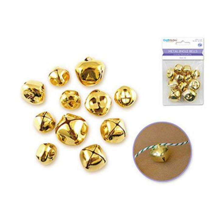 Aranyozott fém csengők - 11 db