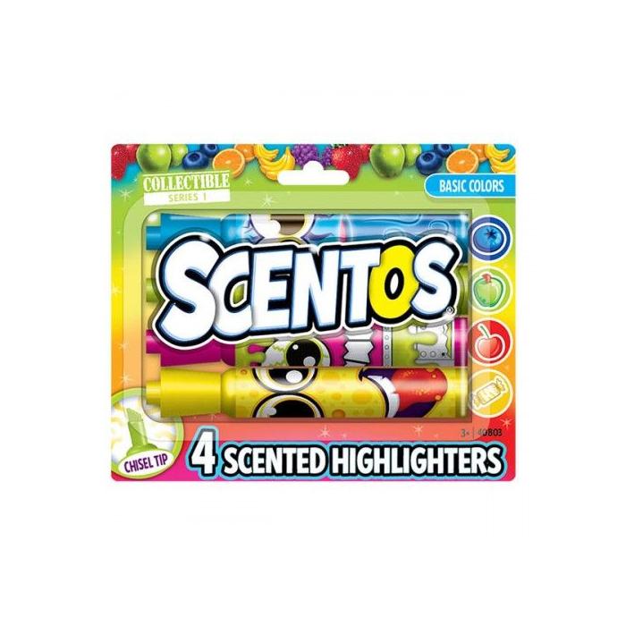 Scentos - Illatos szövegkiemelő - Élénk színek - 4 db-os