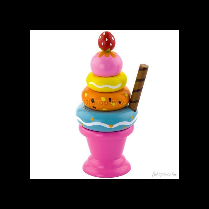 Fajáték - Fagyi rózsaszín pohárban - montesszori játék