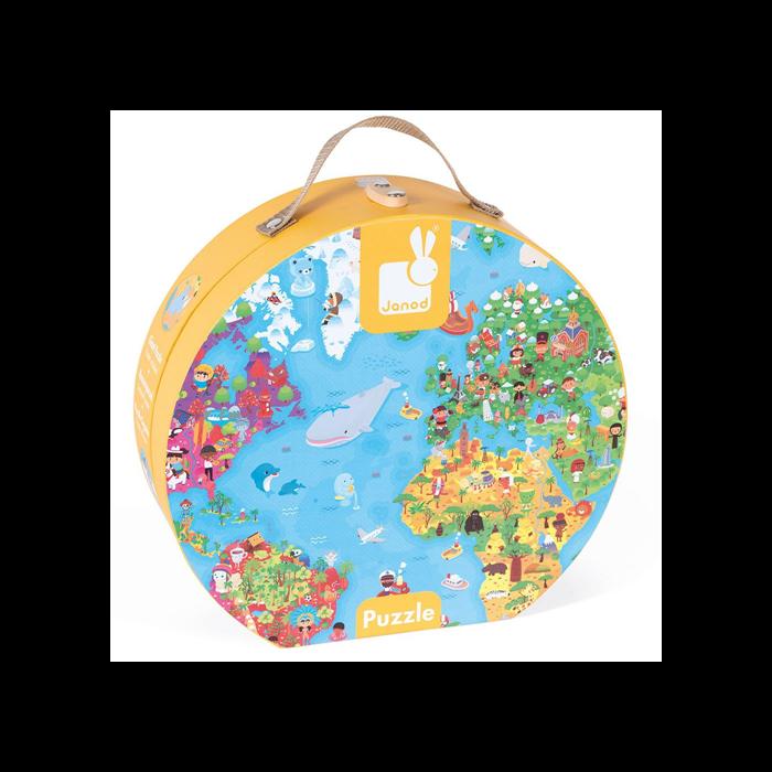 Janod - Óriás világtérkép puzzle bőröndben - 300 db-os