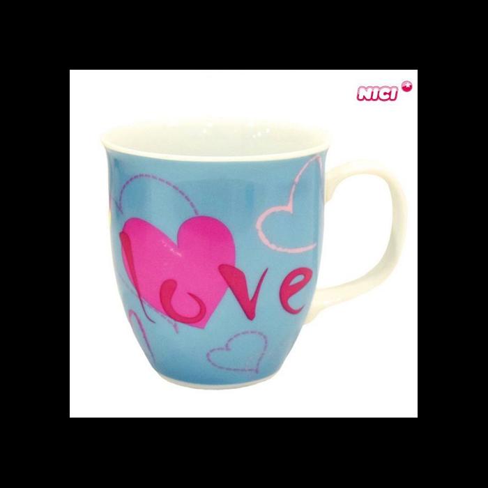 Nici - Szívecskés porcelán bögre - kék