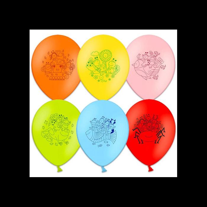 Bogyó és Babóca színes mintás lufik - 6 db