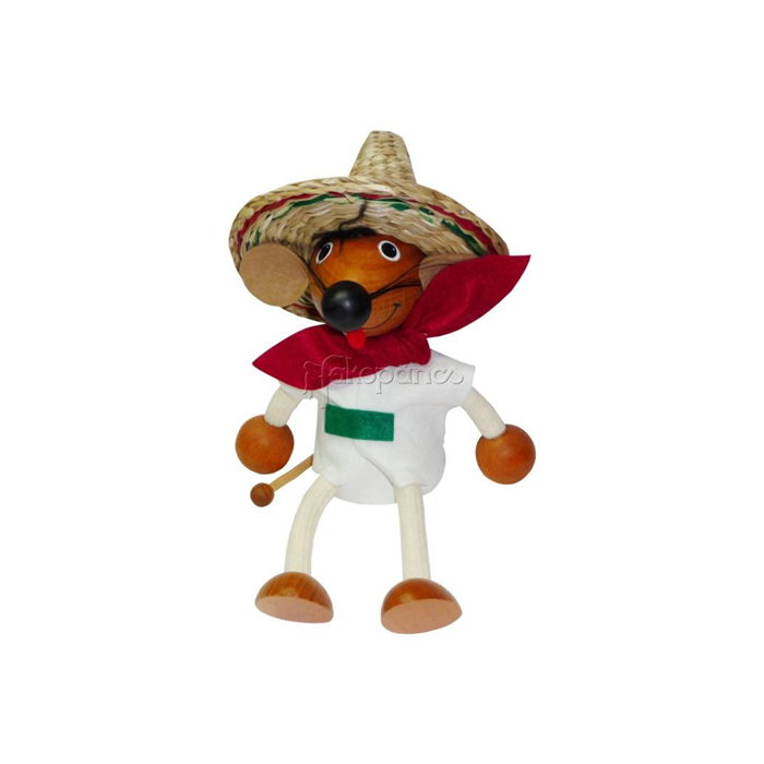Fajáték - Rugós figura - mexikói egér