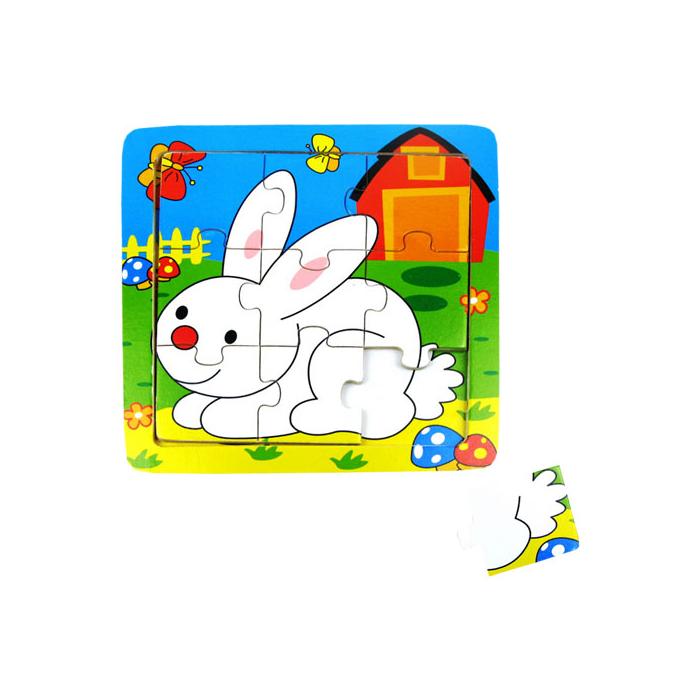 Fajáték - Puzzle 9 db-os - nyuszis