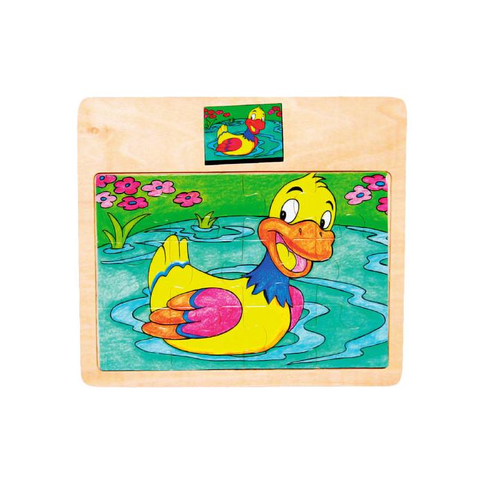 Fajáték - Puzzle 12 db-os - kacsás