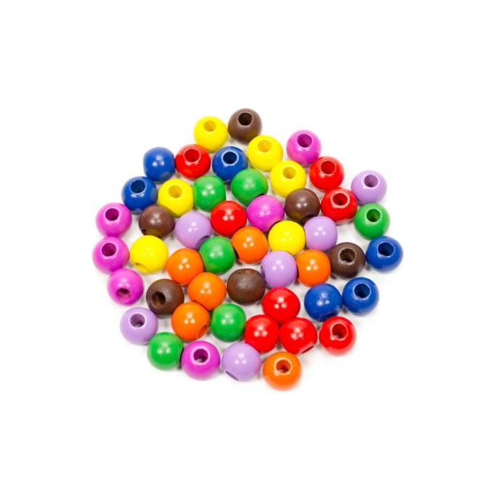 Fajáték - Fagolyó színes - 16 mm, 50 db-os