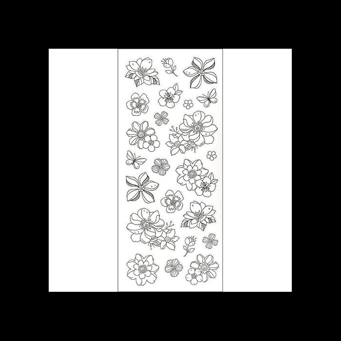 Színezhető matricák - Virágok (10x23 cm)