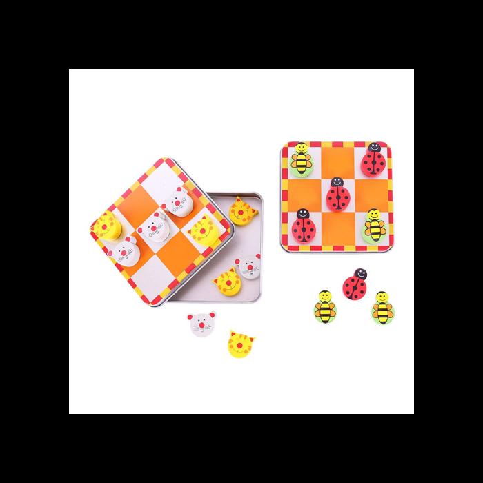 Bigjigs - Fajáték - Mágneses 3x3-as amőba (katicabogaras-méhecskés és macska-egér változatban)
