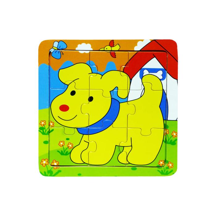 Fajáték - Puzzle 9 db-os - kutyás