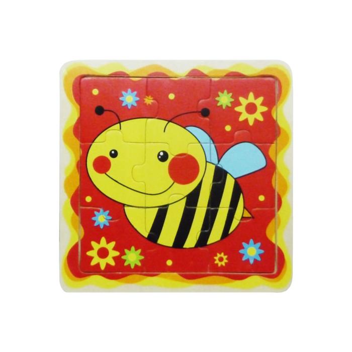 Fajáték - Puzzle 9 db-os - méhecskés