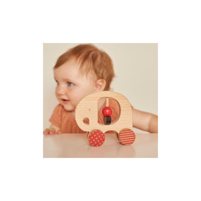 Petit Collage - 100% organikus fejlesztő fa gurulós játék - elefánt