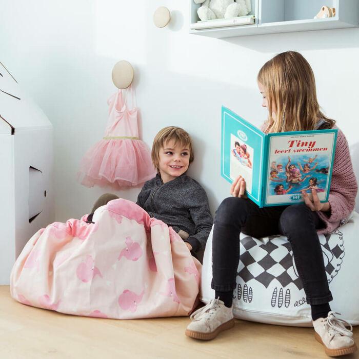 Play&Go - Játék tároló zsák – rózsaszín elefánt