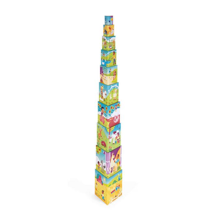 Janod - Élet a tanyán háromszög építő piramisjáték