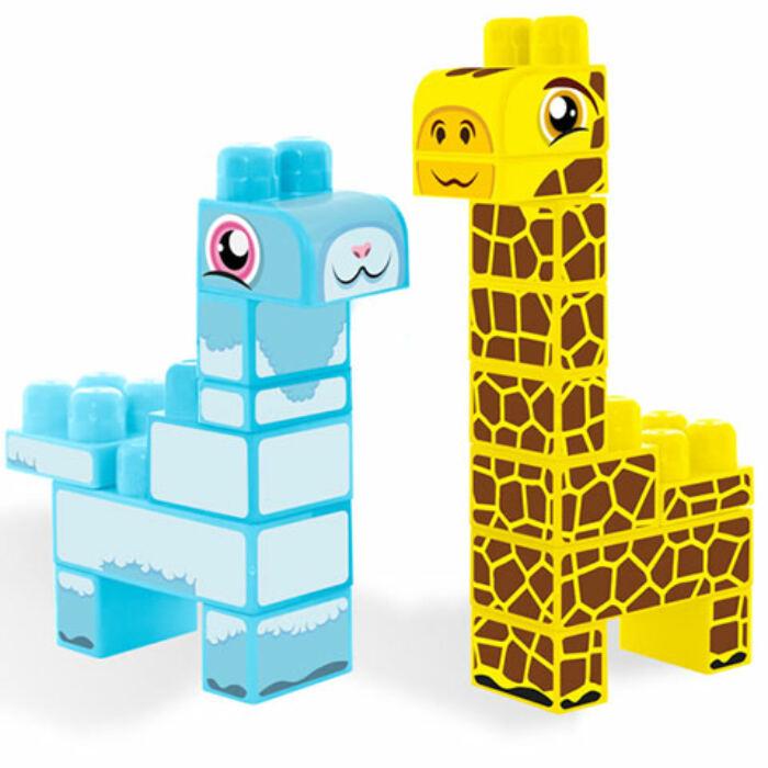 Baby Blocks - Safari zsiráf és láma építőjáték szett - 19 db