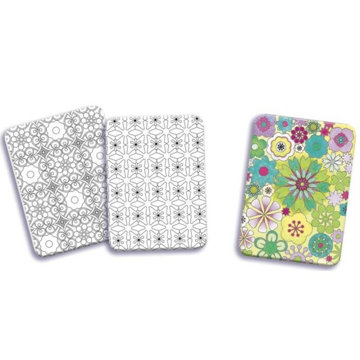 Djeco - Mini grafika - Színes virág színező