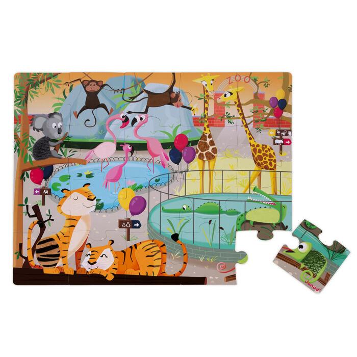 Janod - Egy nap az állatkertben - tapintós puzzle - 20 db