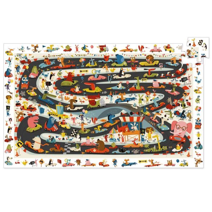 Djeco - Megfigyeltető puzzle - Autóversenyzők, 54 db-os