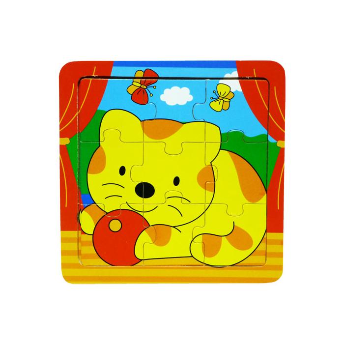 Fajáték - Puzzle 9 db-os - cicás
