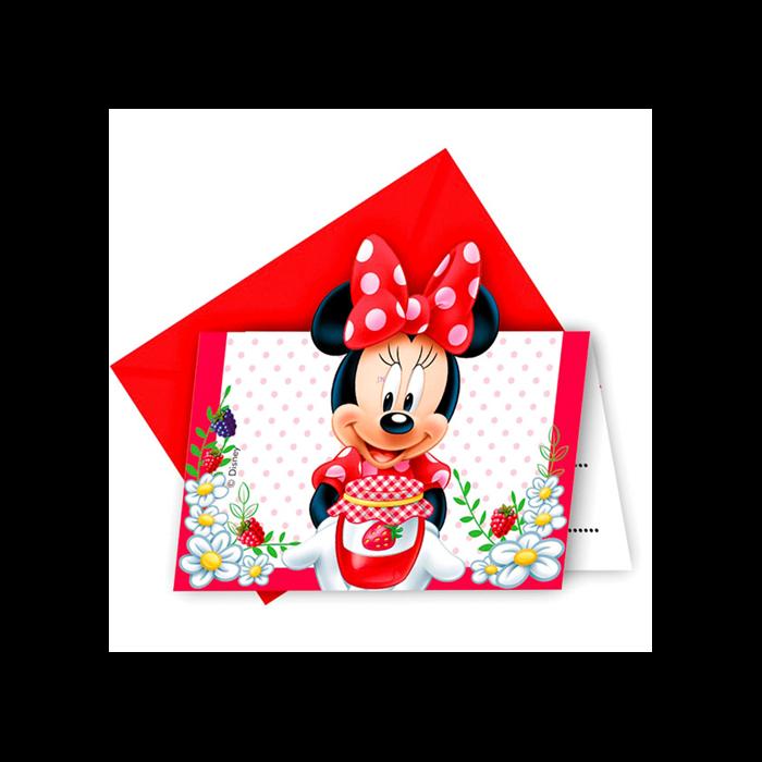 Minnie egér - születésnapi meghívó - 6 darabos