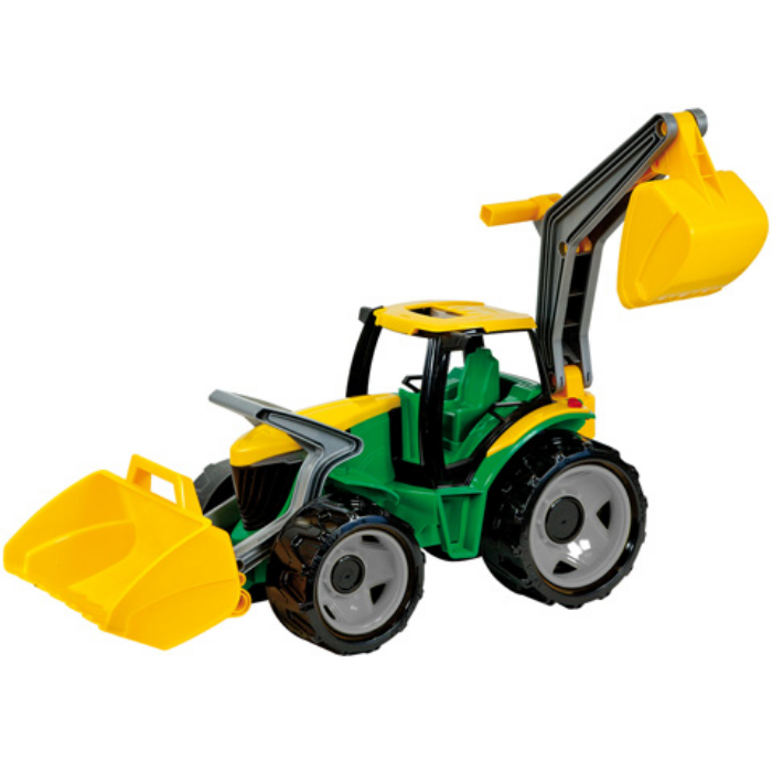 Lena - Óriás traktor homlokrakodóval és markolókanállal sárga/zöld - 65 cm